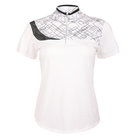 Conquer Short Sleeve Print Blocked Polo