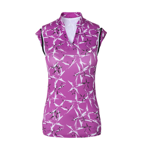 Starburst Sleeveless Print Polo