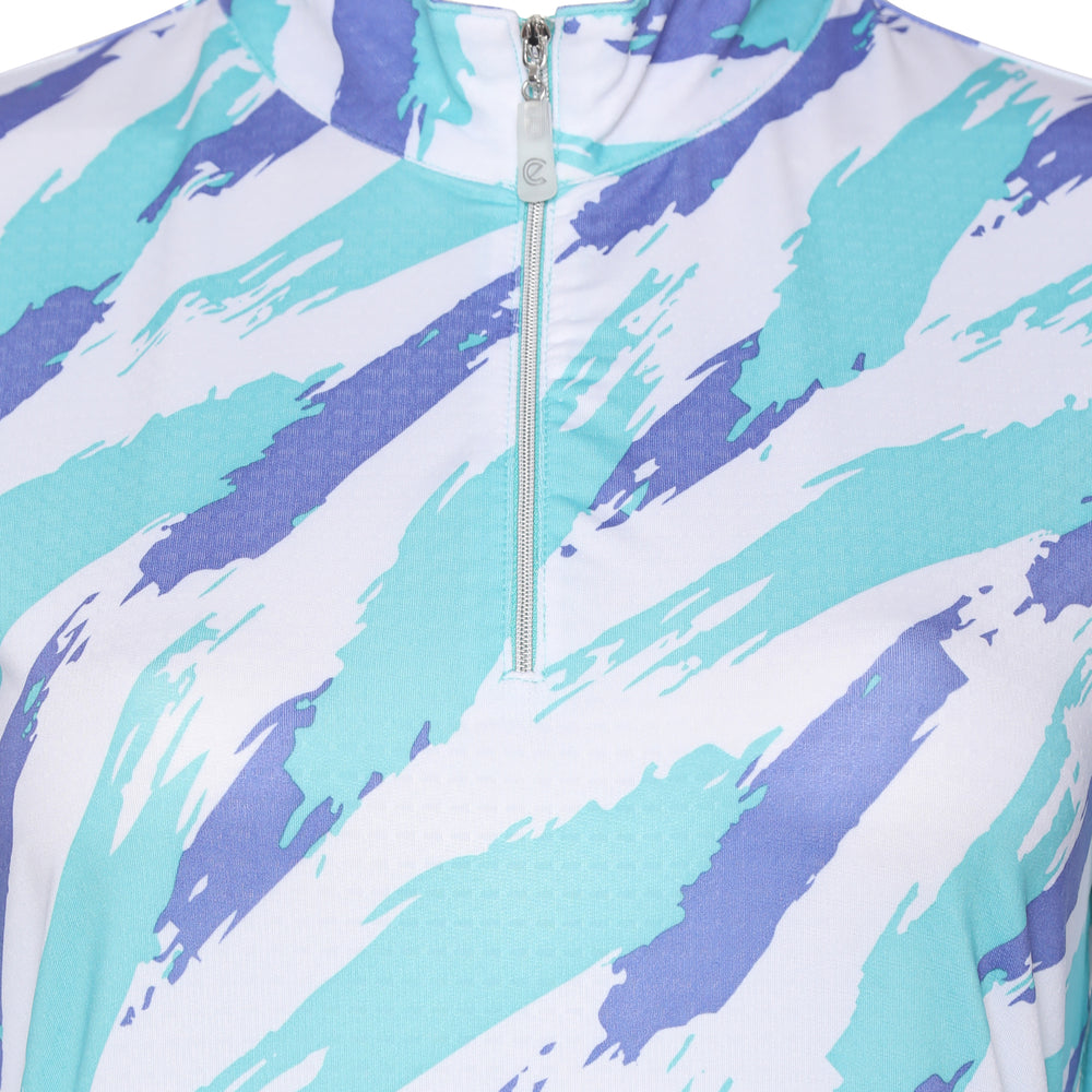 Brush Stroke Long Sleeve Polo