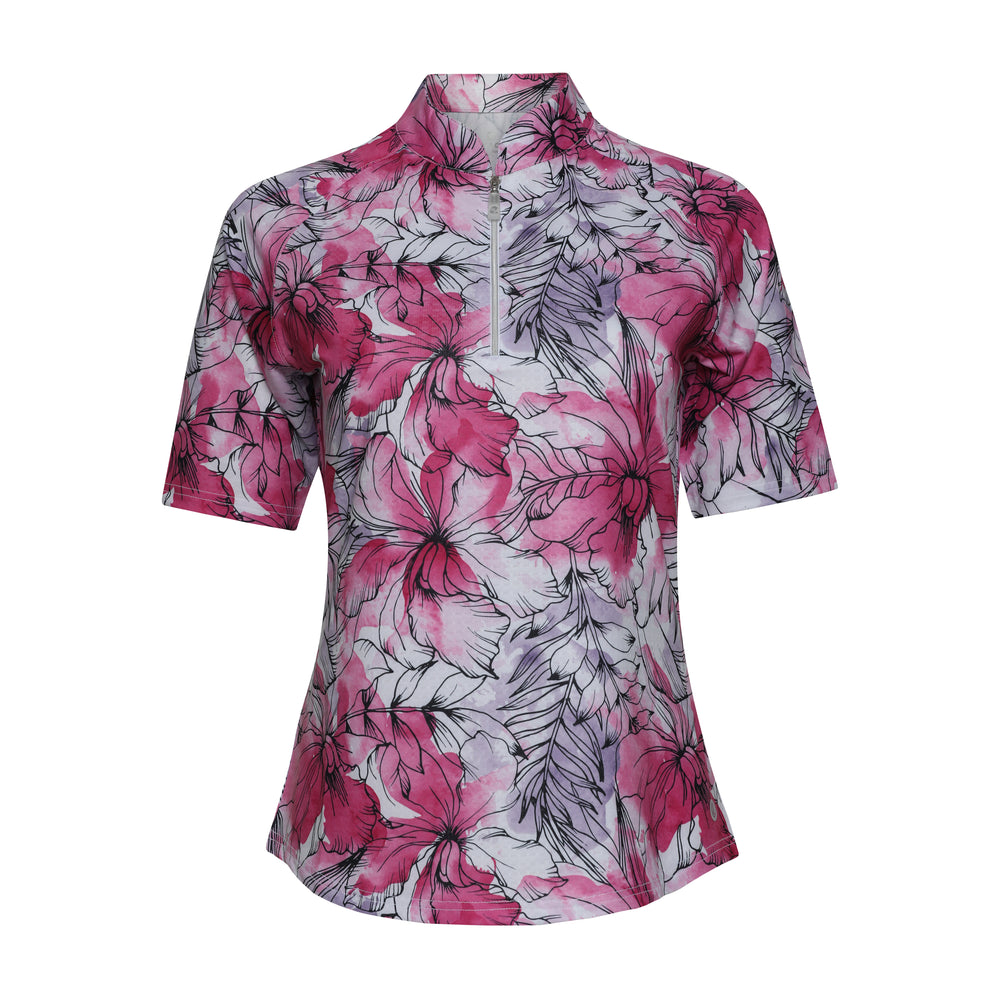 Lotus 3/4 Sleeve Print Polo