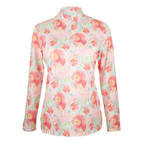 Freesia Floral Long Sleeve Mock Polo