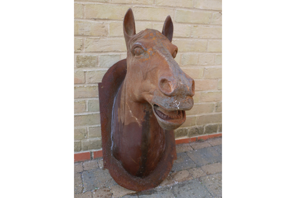 Large Rust Finish Cast Iron Horse Head Garden Wall Hanging