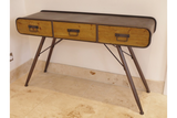 Industrial Style Metal Desk With Three Rustic Wooden Drawers 74 x 125 x 40 cm