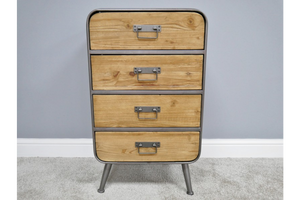 Industrial Style Metal & Wood Cabinet Chest of 4 Drawers H 55 x W 48 x D 38 cm