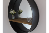 Large Round Metal Frame Glass Wall Mirror With Wooden Shelf 80 cm Diameter