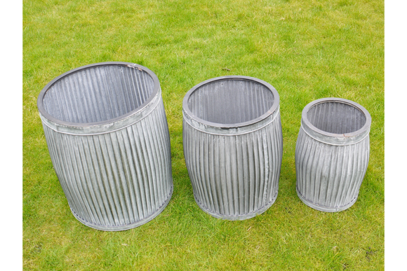 Set of Three Galvanised Ribbed Round Planters