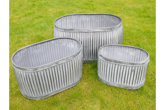 Set of Three Galvanised Ribbed Oval Planters