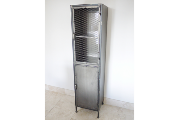 Industrial Style Distressed Silver Metal Cabinet Cupboard