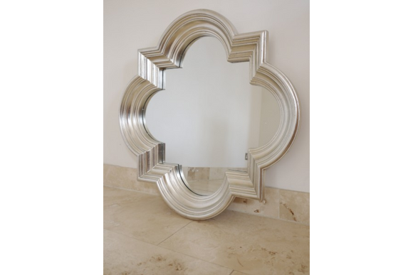 Large Antiqued Silver Quatrefoil Wall Mirror 86 cm x 86 cm x 10 cm Deep