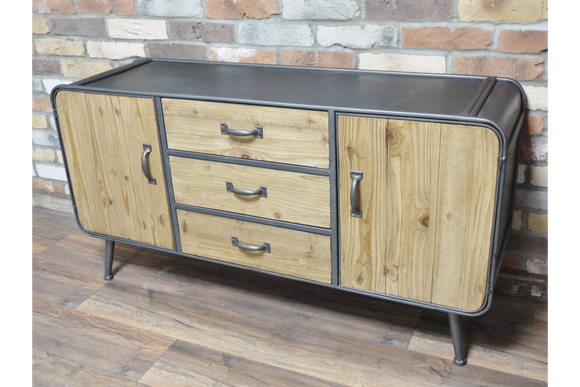 Retro Mid Century Style Wide Metal and Wood Sideboard Cabinet Cupboard