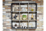 Large Square Shelf Unit Wall Mounted 90 cm Square Metal Wood Industrial