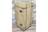 Solid Wood Travel Trunk Style Bar Unit Drinks Wine Cabinet 109 x 50 x 50 cm