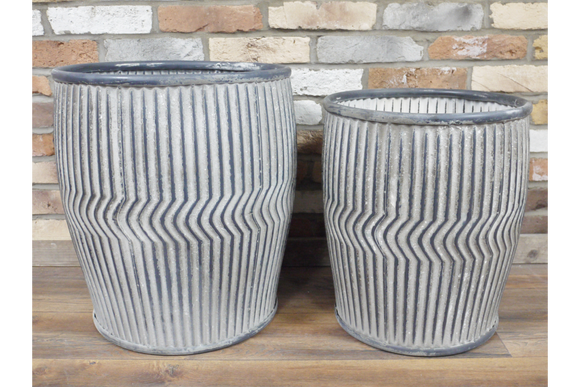 Set of Two Galvanised Ribbed Round Dolly Planters - Due March
