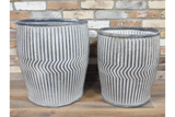 Set of Two Galvanised Ribbed Round Dolly Planters
