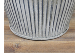 Large Galvanised Ribbed Round Dolly Tub Planter