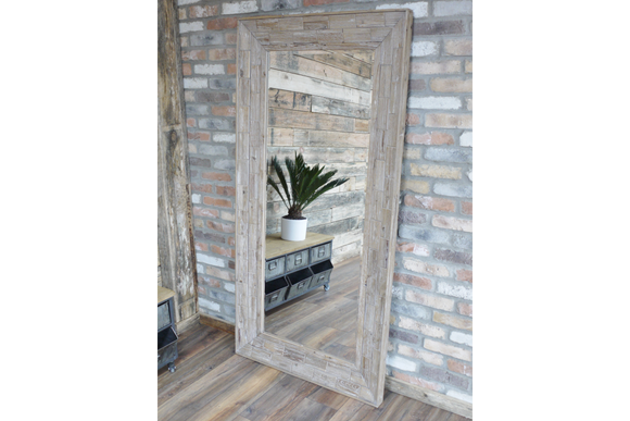 Large Wood Block Frame Wall Mirror 183 x 91 cm x 6 cm Deep