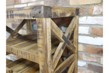 Distressed Industrial Style Wood Wine Trolley With Metal Wheels - Due February