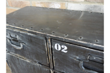 Industrial Style Distressed Black Metal Cabinet Cupboard