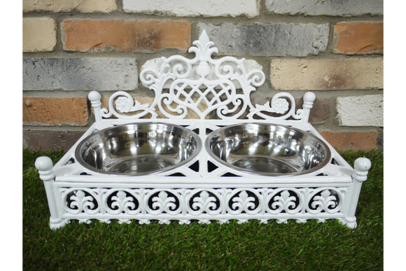 White Cast Iron Dog Dish Holder With 2 Stainless Steel Bowls Sturdy 4.5 Kg
