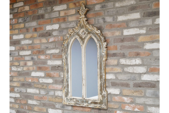 Decorative Gothic Window Style Distressed Wood Wall Mirror 116 cm x 60 cm