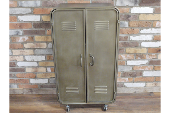Industrial Style Distressed Grey Metal Cabinet Cupboard