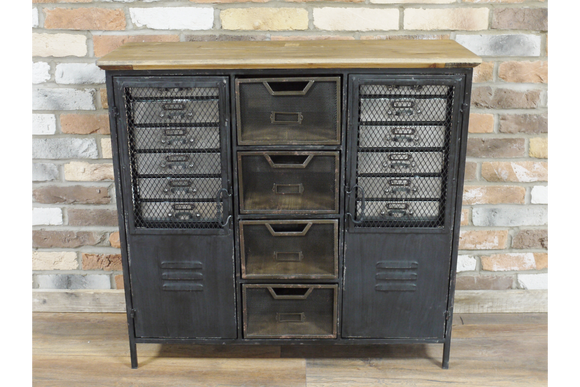 Industrial Style Distressed Black Metal and Wood Cabinet 88 x 93 x 34 cm