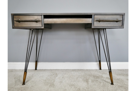 Retro Industrial Style Distressed Metal Desk with 3 Drawers  81 x 120 x 54 cm
