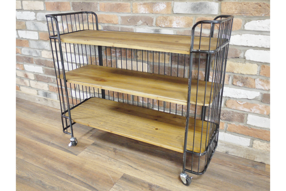 Industrial Style Antiqued Black Metal Trolley 3 Wooden Shelves & Castors