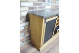 Wood & Metal Bar Unit Drinks Wine Cabinet Vintage Industrial 82 x 101 x 40 cm