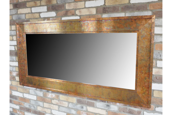 Mottled Copper Finish Metal Frame Wall Mirror 91 x 180 cm x 4 cm Deep