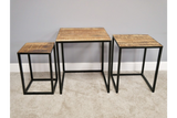 Set of Three Sustainable Mango Wood and Black Iron Coffee Side Nest Tables