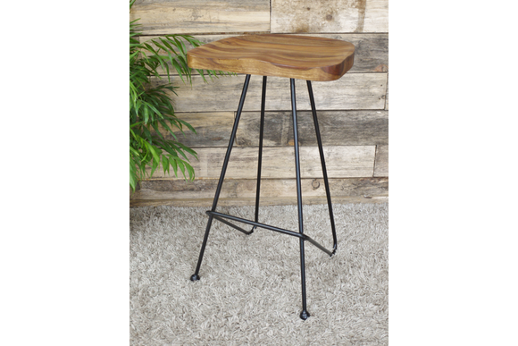 Set of 4 Black Iron & Sustainable Sheesham Wood Bar Stools 76 cm High