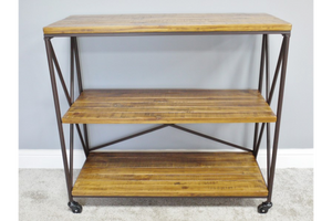 Industrial Style Antiqued Grey Metal Trolley 3 Wooden Shelves & Castors