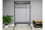 Black Metal Industrial Pipe Style Distressed Coat Rack Bench Shelf Unit