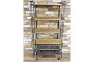Industrial Style Antiqued Metal Trolley Shelf Unit with Two Drawers & Castors