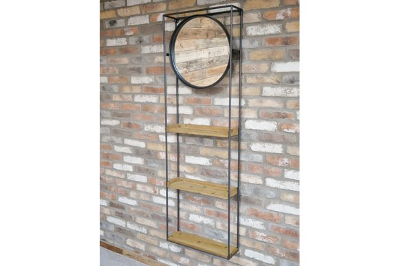 Industrial Style Metal Frame Wall Mounted Round Mirror Unit with Three Shelves