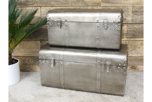 Set of Two Silver Metal Travel Trunk Style Storage Chests
