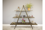 Three Tier A Frame Shelf Display Unit Bronze Metal 134 x 160 x 40 cm