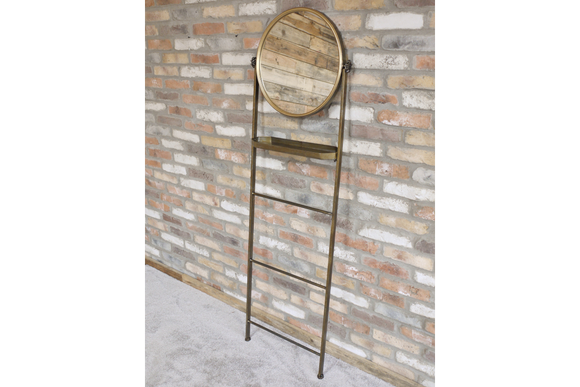 Antiqued Gold Metal Frame Ladder Mirror With Shelf 176 cm Tall