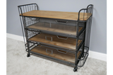 Industrial Style Antiqued Grey Metal Trolley 4 Wooden Shelves & Castors