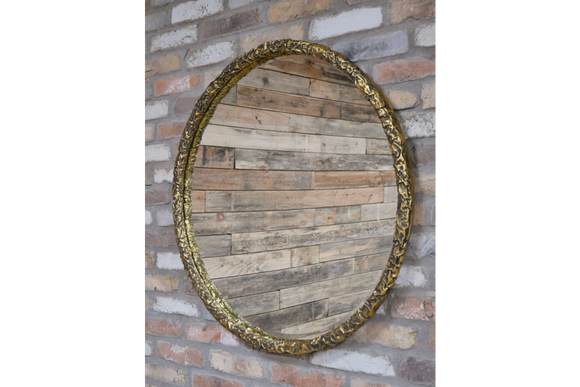 Large Round Antiqued Gold Wall Mirror 88 cm Diameter x 5 cm Deep