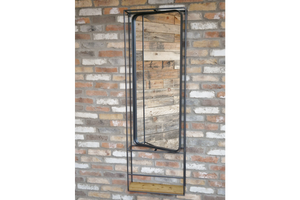 Industrial Style Metal Frame Wall Mounted Mirror With Wood Shelf 154 cm x 54 cm
