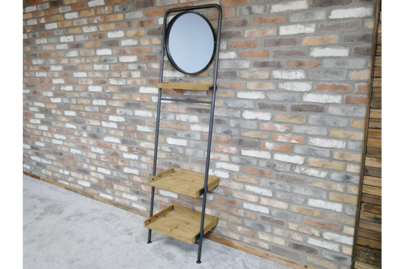 Industrial Style Metal Frame Tilt Mirror With Wood Shelves and Towel Rail 200 cm Tall