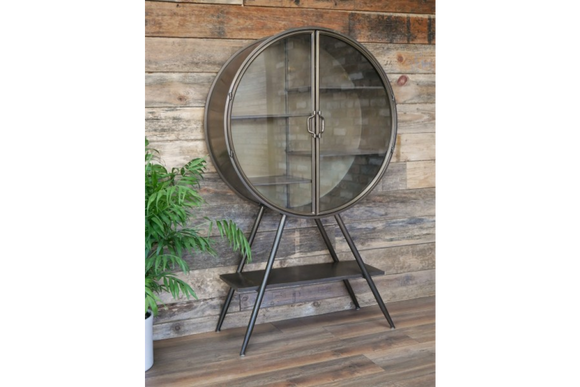 Industrial Style Distressed Grey Metal  Glazed Round Display Cabinet Cupboard