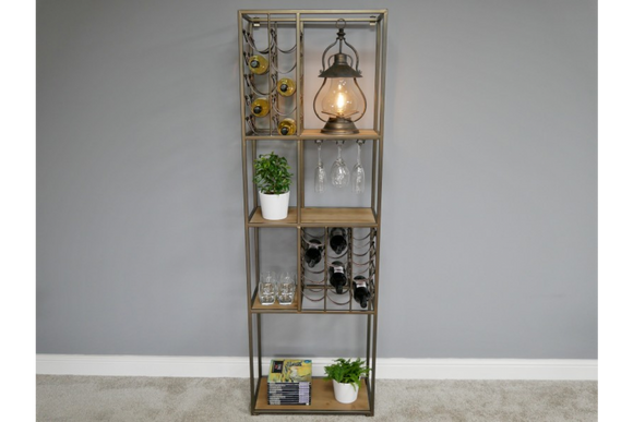Metal & Wood Bar Drinks Wine Shelf Unit 180 x 58 x 30 cm