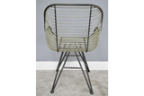 Pair of Gunmetal Grey Industrial Style Metal Wire Bucket Style Arm Chairs