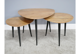 Set of Three Retro Scandi Style Wood Top Metal Tripod Coffee Side Nest Tables