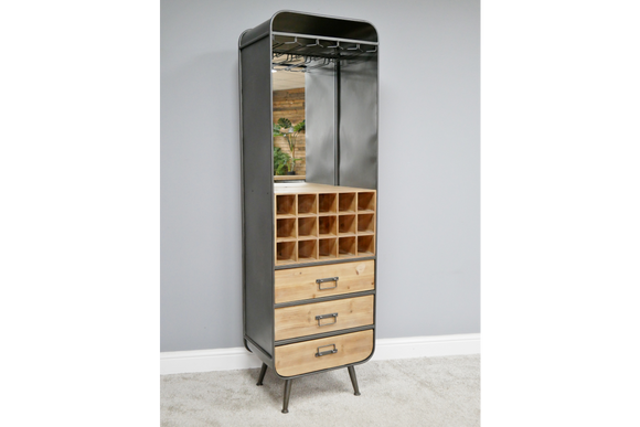 Industrial Style Metal & Wood Bar Unit Drinks Wine Cabinet Mirror Back