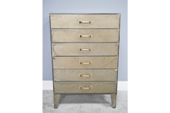 Industrial Style Distressed Metal Gold Grey Chest of Six Drawers 91 cm High