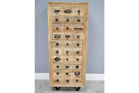 Mango Wood Tallboy Multi Handle Chest Five of Drawers 126 x 50 x 41 cm